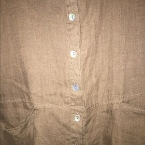 Flax Tops - FLAX 100% linen top with buttons pockets tank